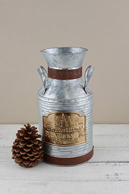 Metal Milk Can Christmas 11.75in
