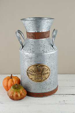 "15"" Metal Milk Can Pumpkin Patch Farms"