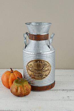 "12"" Metal Milk Can Pumpkin Patch Farms"