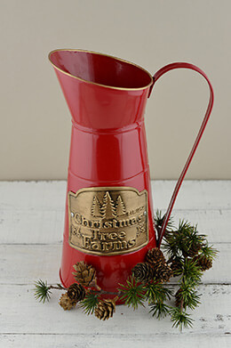 Metal Pitcher Christmas 12.75in