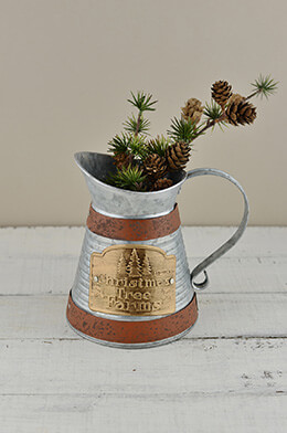 Metal Pitcher Christmas 7in