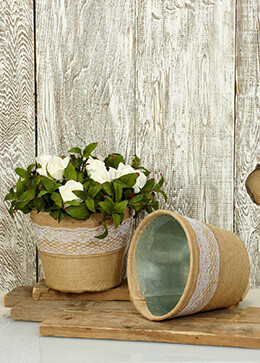 Metal Planter Burlap & Lace 6in