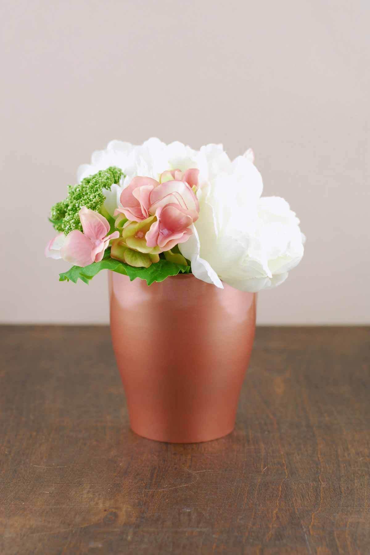 Rose Gold Metal Pot Vase 4.75in