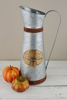 "Pumpkin Patch Farms 16"" Metal Farmhouse Pitcher"