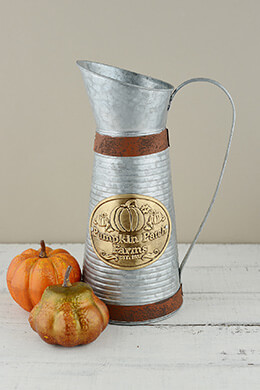 Metal Pumpkin Pitcher 13in