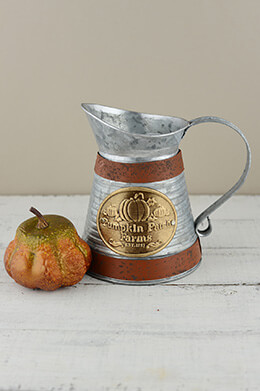 Metal Pumpkin Pitcher 7in