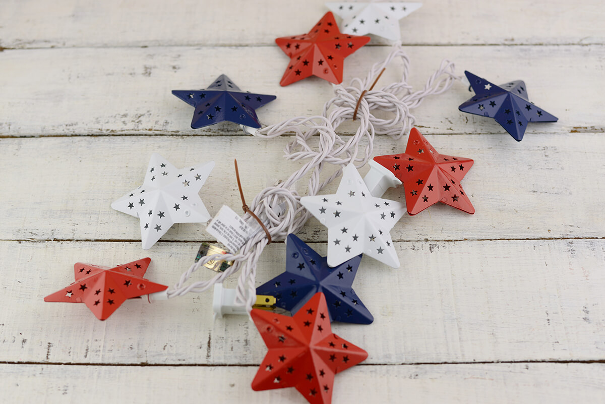 Fourth of July Red White & Blue Metal Star String Lights , 6 Feet