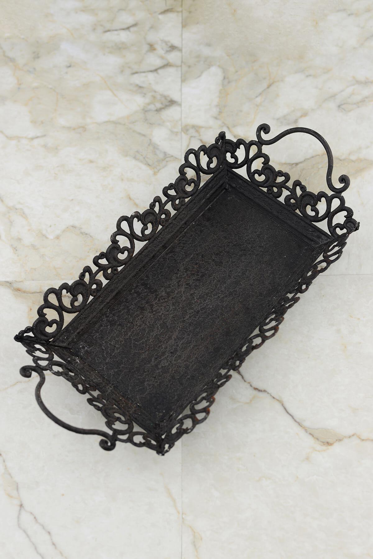 Decorative Metal Tray Decorative Rustic Black Metal Tray With Handles