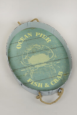 Ocean Pier Fish & Crab Green Metal Tray, Rope Handles 24""