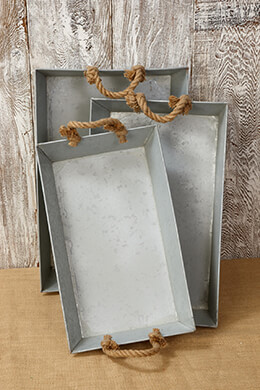 Metal Trays with Rope Handles (Set of 3)