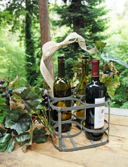 Basket Wine Holder Gray 14.5in