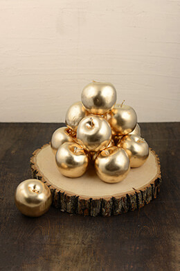Metallic Gold Apple 3in (Pack of 12)