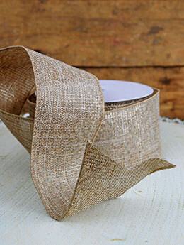 Gold Burlap Wired Ribbon 2.5in x 24ft