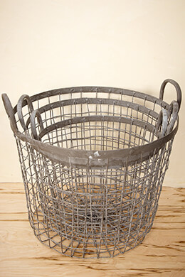 "Set of Three Industrial Wire Baskets 9.5"", 11"", 12.5"""