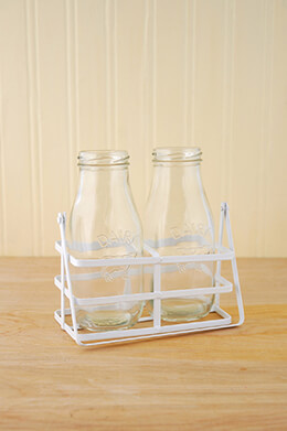 Milk Bottle Basket White
