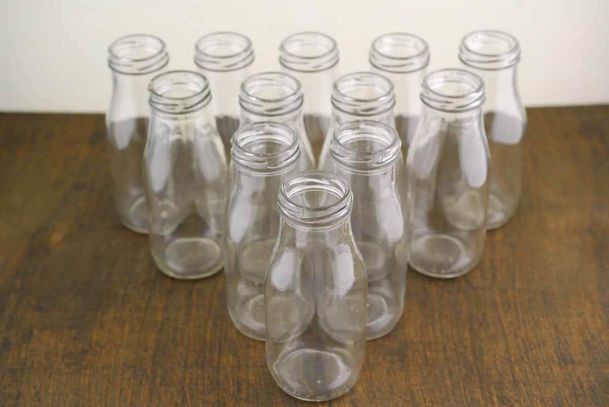 12 Glass Milk Bottles 10oz