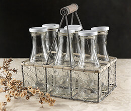 6 Glass Milk Bottles in Chicken Wire Carrier