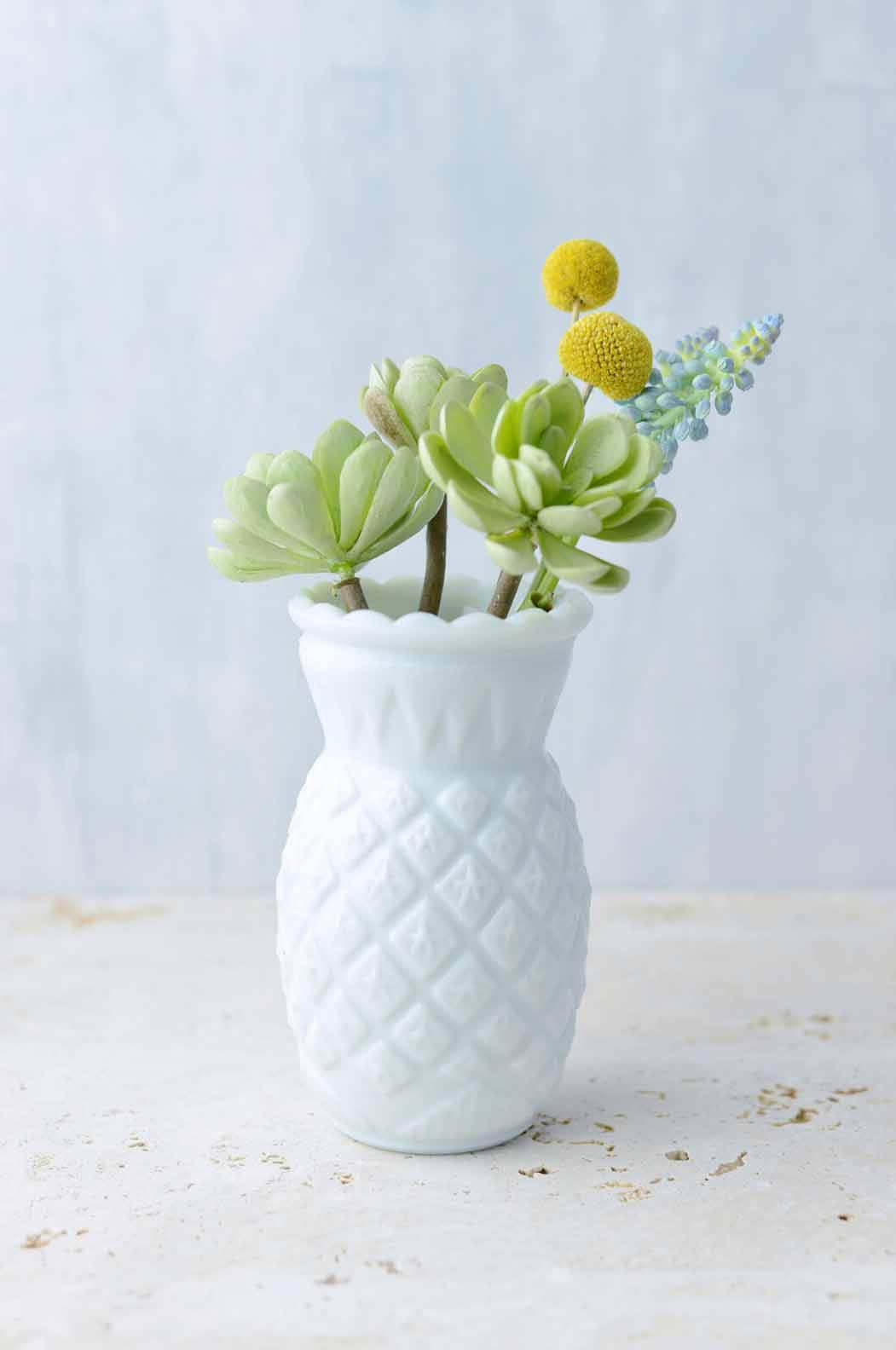 Pineapple Bud Vases Heirloom Milk Glass Vase 5.75in