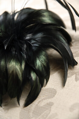"Millinery Feather Flowers 6"" Black with Iridescent Green"