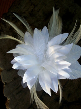 Millinery Flower, White Silk with Feathers Flower Couture