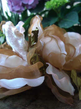 Millinery Flowers Champagne & Brown Silk, Velvet & Organza Magnolias, Garden Wedding