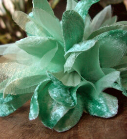 "Millinery Flowers Mint Green Velvet & Organdy 4"" Mum"