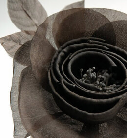Millinery Flowers Starched & Rolled Brown Organza Camilla