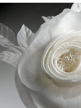 Millinery Flowers Starched & Rolled White Organza Camilla