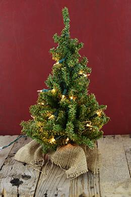 Mini Christmas Tree Artificial Pre-Lit 18in