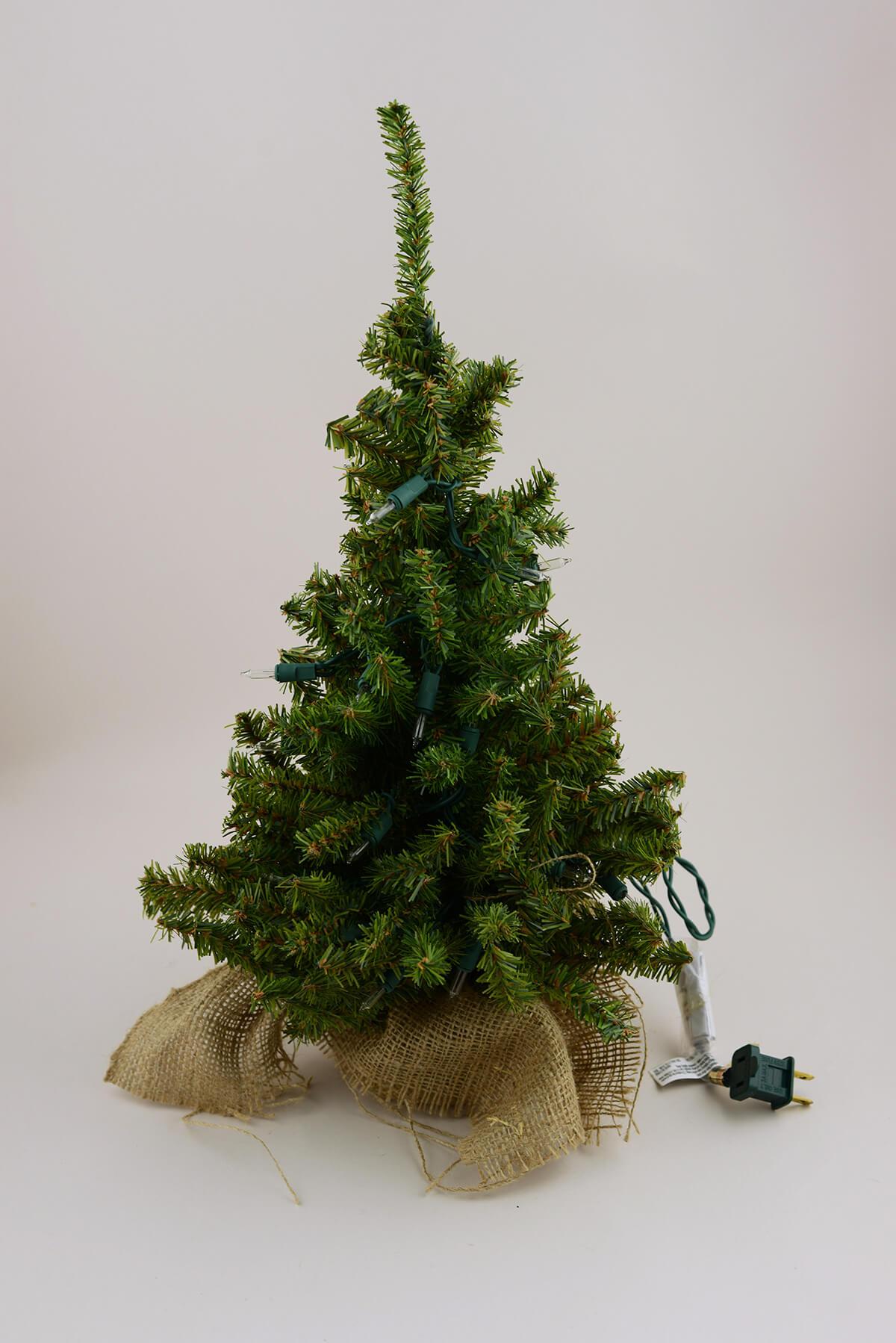 Pre lit artificial inch pine tree burlap sack base