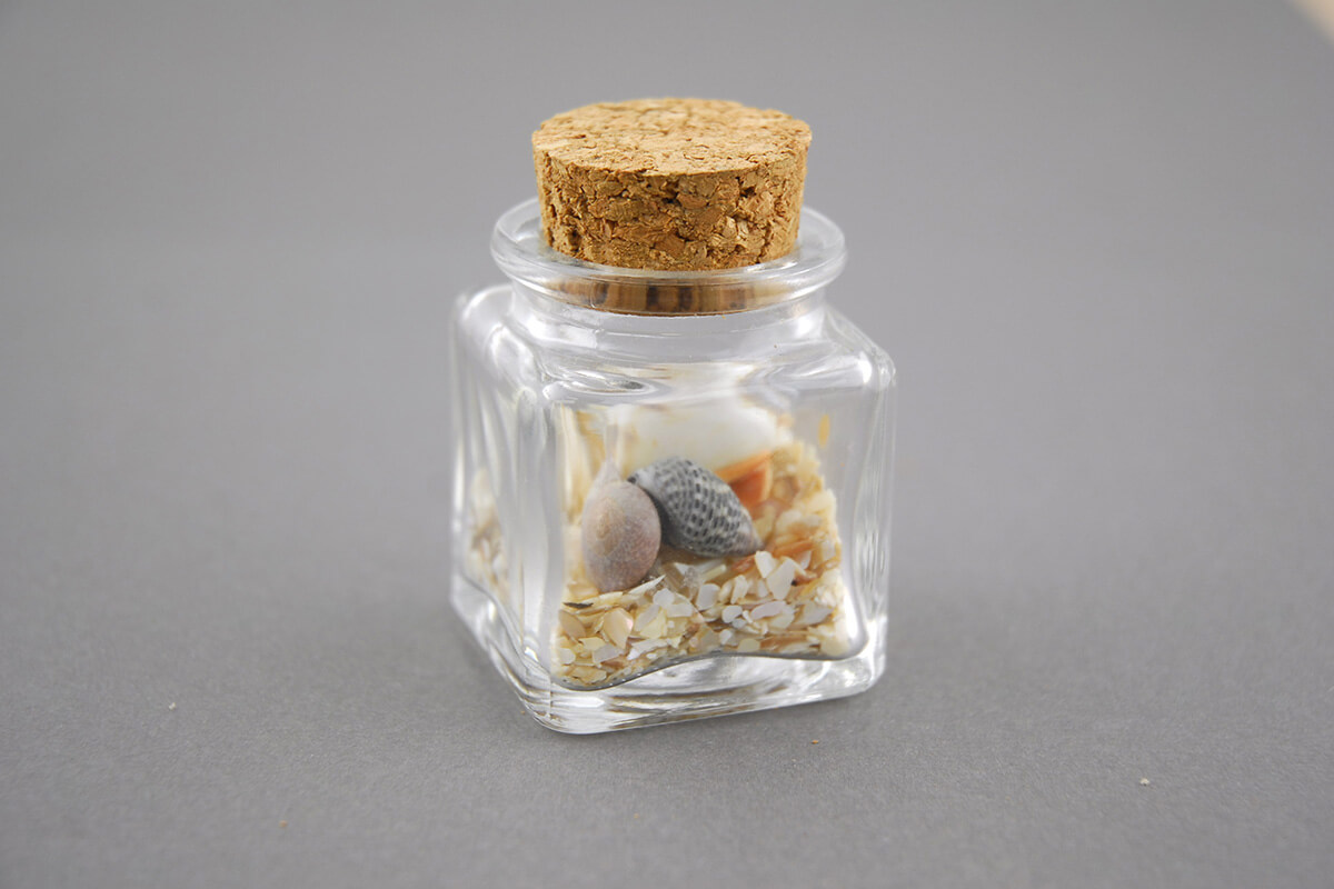 Mini Glass Bottle Square With Cork 1 4oz Pack Of 24