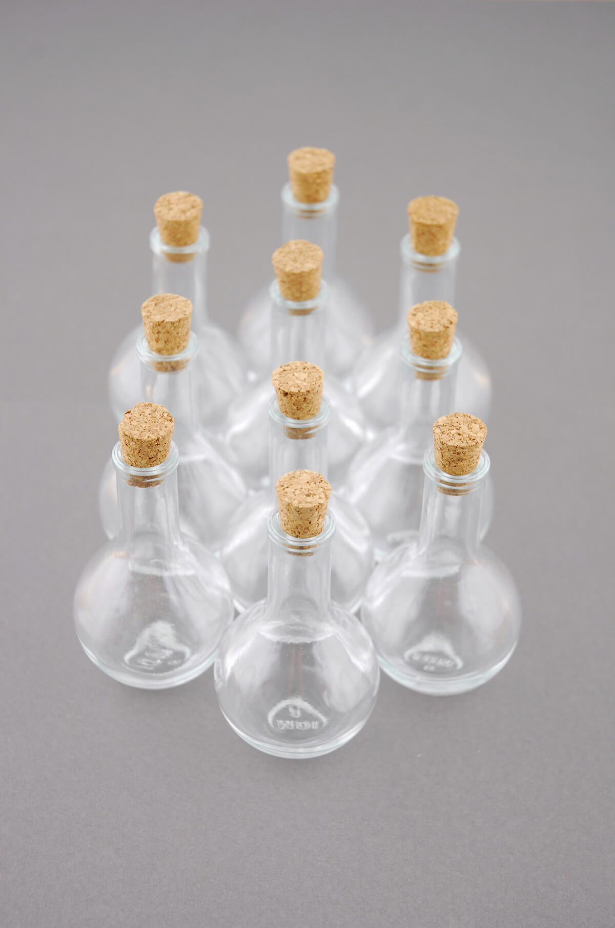 10 Mini Glass Bottles With Corks 3in
