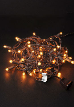 Mini Globe Lights String: 50 Clear Lights 18.5 FT  Brown Wire Strand