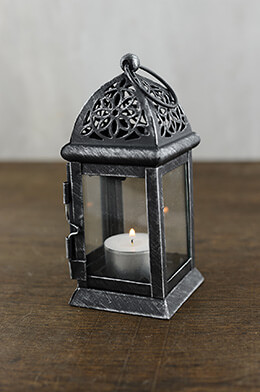6 Black Metal & Glass Moroccan Tealight Lanterns