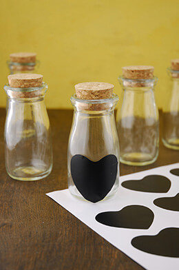 "24 - 4"" Glass Milk Bottles with Heart Chalkboard Stickers"