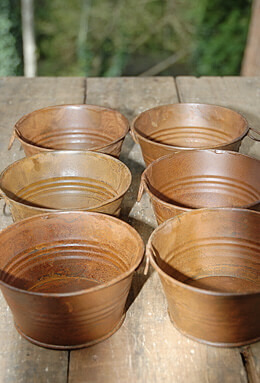 "6 Tiny 3-3/4"" Rusty Tubs, Candleholders"