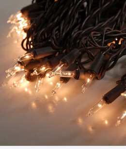 Mini String Lights Brown Wire Commercial | Clear