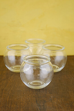 4 Tiny 3x3 Glass Candle Holders