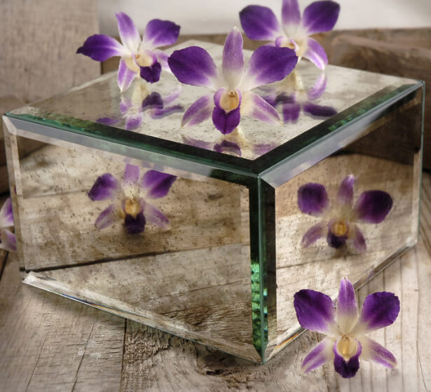 """Antiqued Mirror Bowl & Mirror Stand 7.5"""" Square"""