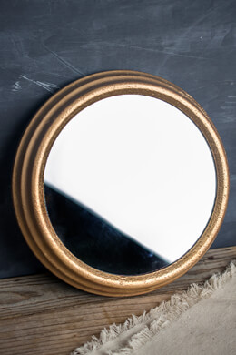 Gold Framed Round Mirror  8in