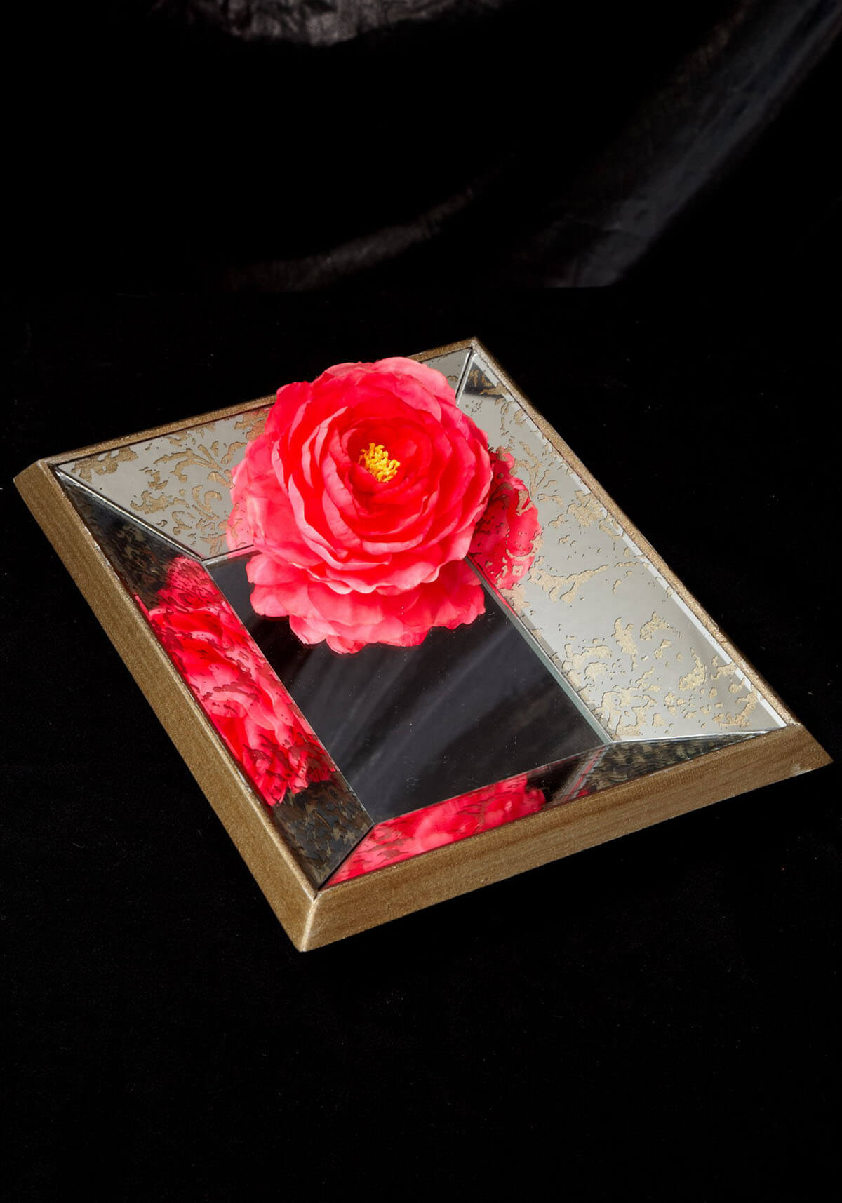 Gold Accented Beveled Mirrored 9x11 Wood Tray