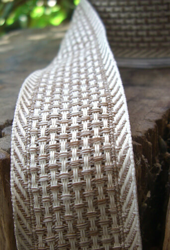 Soft Mocha & Ivory Woven Ribbon 1.5in x 9 yds