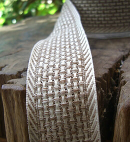 "Mocha Brown & Ivory Woven Natural Weave Wire Edged Ribbon 1-1/2"" 38mm x 9 yds"
