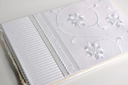 Molly West Guest books: Destiny White Silk 11 x 7 Wedding Guest Book