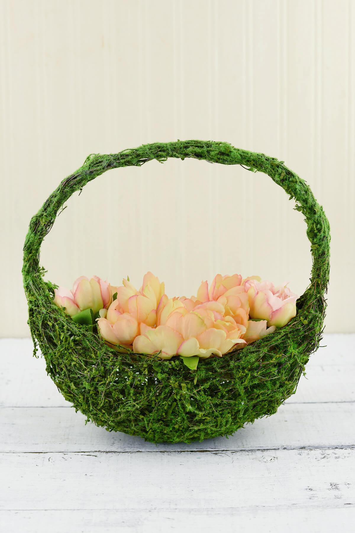 Flower Girl Basket Moss : In half moon moss covered flower girl basket