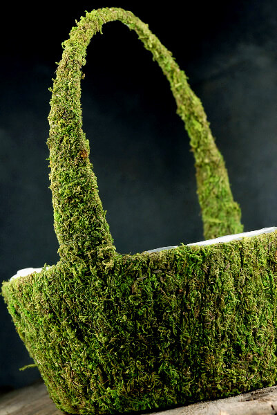 "Moss Baskets Preserved Green 11x 14"""