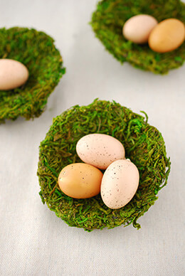 3 Moss Bird Nests 4in