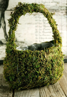 Moss Covered Flower Girl Baskets  8x11