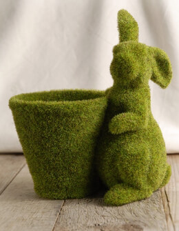 Moss Covered Bunny and Flower Pot
