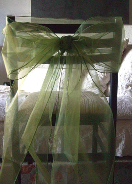 "10 Moss Green Organza Chair Bows 8"" Wide"